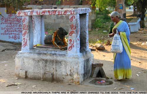 A shrine to Nandi on the road around Arunachala, the holy hill.