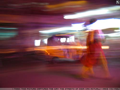 The blur of an India city street
