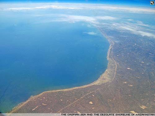 The Caspian Sea and the Kazakhstan shoreline