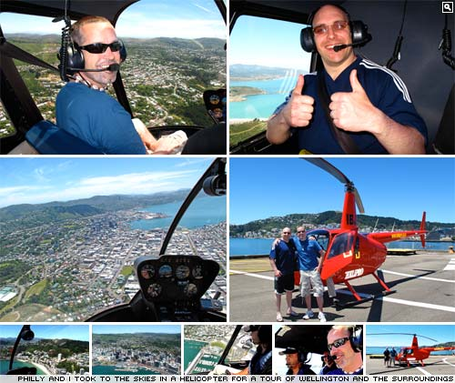 Flying over Wellington in a helicopter