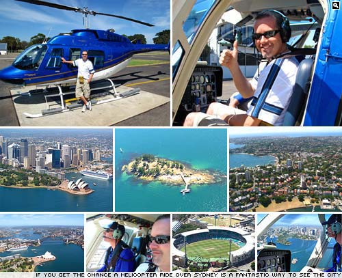 A helicopter ride over Sydney, Australia.