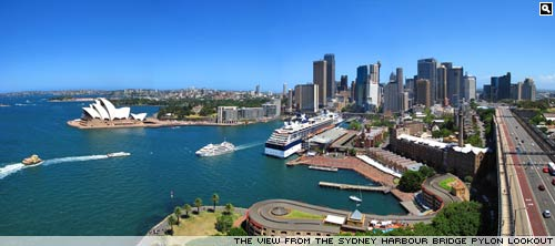 The view from the Sydney Harbour Bridge pylon lookout