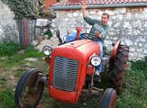 Simon Jones drives a tractor